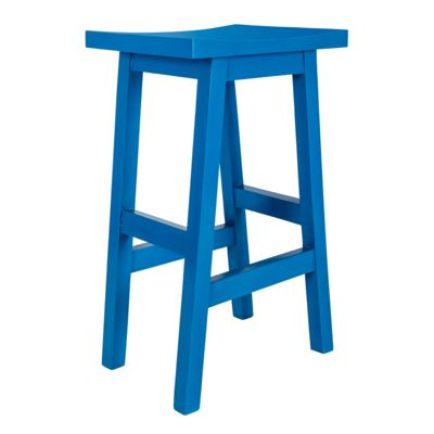 Homescapes Solid Mango Wood Bar Stool, Blue with Footrests, 75cm Tall