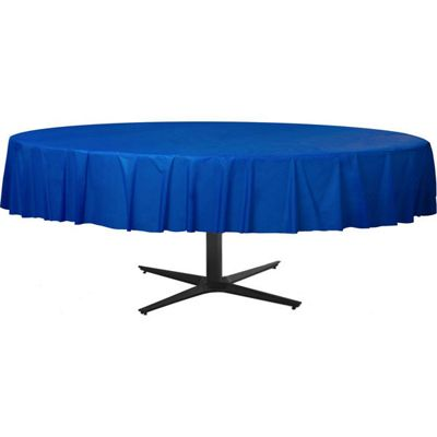Royal Blue Round Tablecover - Plastic - 86 x 2.1m