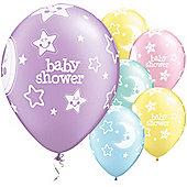 Baby Shower Moon & Stars 11 inch Latex Balloons - 6 Pack