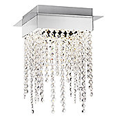 Modern Chrome Plated LED Ceiling Light with Crystal Glass Beads by Haysoms