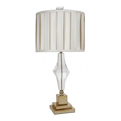 Sandringham Cut Glass Table Lamp With Ivory and Gold Pleated Shade