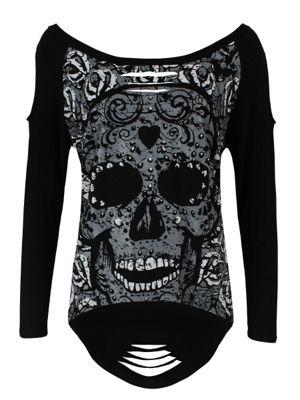 Banned Women's Candy Skull Sweatshirt Top Black