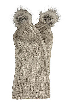 Mountain Warehouse Whistler Pom Pom Scarf Warm and Cosy with Anti-pill - Grey