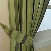 Homescapes Green Jacquard Tie Back Pair Modern Striped Design