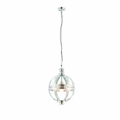 Bright Nickel Plated On Solid Brass & Clear Glass 305mm Pendant 40W
