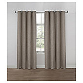 Basketweave Lined Eyelet Curtains, Duck Egg (66 x 54'') - Mocha