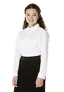 F&F School Girls Stretch Slim Fit Shirt - White