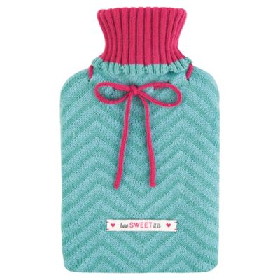 Sweetie Shop Knitted Hot Water Bottle Cover, Bottle Included