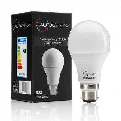 AURAGLOW 9w LED B22 Cool White - 60w EQV
