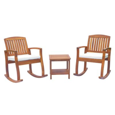 Outsunny 3PC Acacia Hardwood Bistro Set 2 Rocking Chairs + Coffee Table Deck