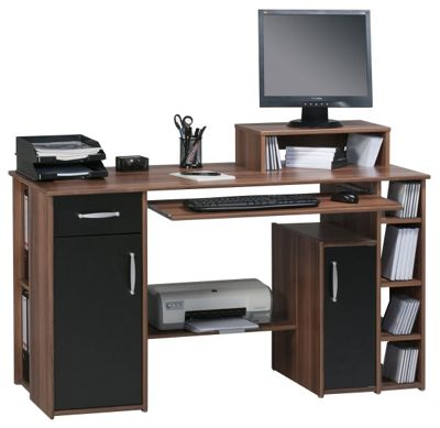 Buy maja seattle walnut computer desk from our office desks tables range tesco - Tesco office desk ...