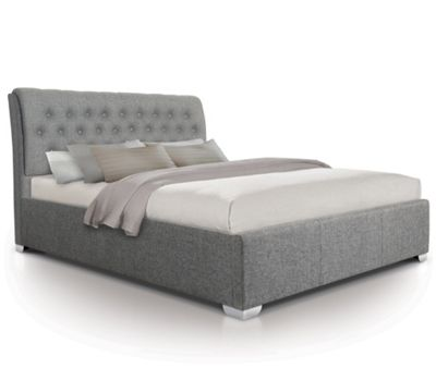 Extra Padded Buttoned Fabric Oversized Ottoman Gas Lift Storage Bed - Double - Grey