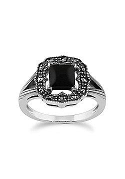 Gemondo 925 Sterling Silver 0.58ct Black Onyx & Marcasite Art Deco Ring