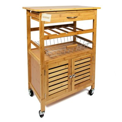 Woodluv Bamboo Kitchen Trolley With Wine Storage