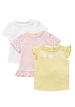 F&F 3 Pack of Flower T-Shirts - Multi