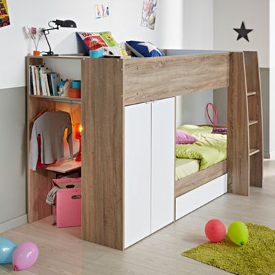 Happy Beds Stim Wood Kids Storage Wardrobe Bunk Bed with 2 Open Coil Spring Mattresses - Acacia and White - EU Single