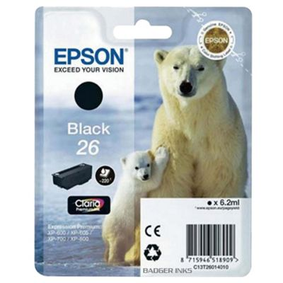 Epson Polar Bear 26 Black Claria Ink