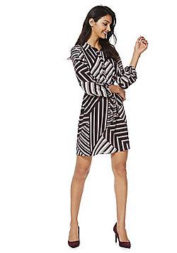 F&F Abstract Stripe Shirt Dress - Black & Pink