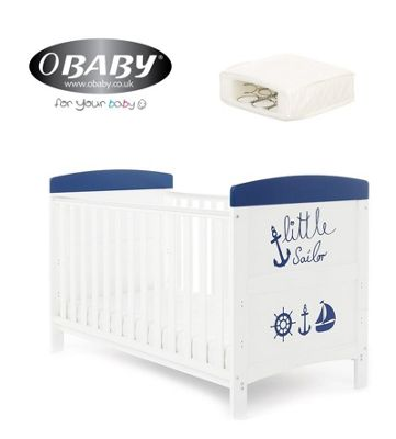 Obaby Grace Inspire Cotbed and Sprung Mattress - Little Sailor