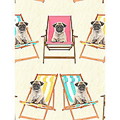 Windsor Wallcoverings Pugs in Deckchairs Wallpaper A161