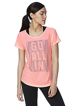 Only Play Neon Slogan T-Shirt - Pink