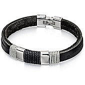 Fred Bennett black and grey cord wrapped leather 2 row bracelet