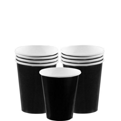 Jet Black Party Paper Cups 266ml - 8 Pack
