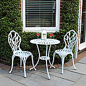 Charles Bentley Cast Aluminium White Tulip Bistro Set