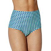 Curvy Kate Atlantis Scallop Print High Waisted Bikini Briefs - Blue