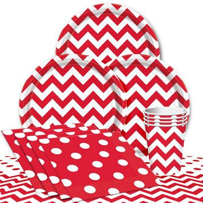 Red Chevrons Party Pack - Value Pack For 8