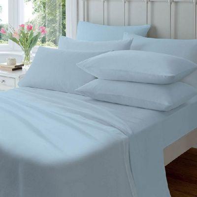 Flannelette Housewife Pillowcase (pair) Blue