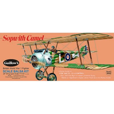 Guillows Sopwith Camel 801 Powered Balsa Aircraft 1:12 Flying Model Kit