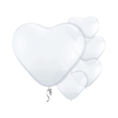 Diamond Clear Heart 6 inch Latex Balloons - 100 Pack