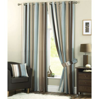 Dreams n Drapes Whitworth Duck Egg Lined Eyelet Curtains - 66x72 Inches (168x183cm)