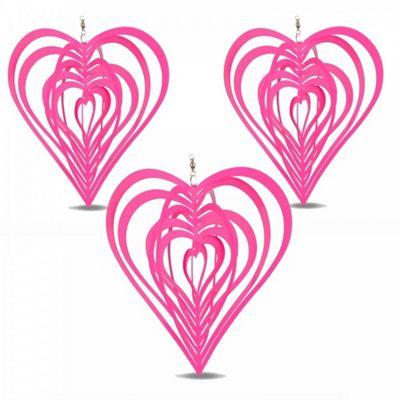 Set of Three Pink Heart Shaped Steel Garden Windspinners