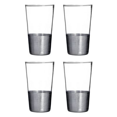 Premier Housewares Apollo Set of 4 Hi Ball Glasses, Silver