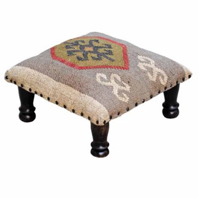 Homescapes Kilim Upholstered Beige and Brown Solid Wood Footstool