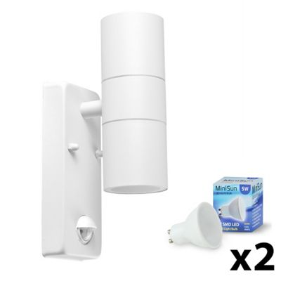 IP44 PIR Outdoor Up & Down Wall Light with Cool White Bulbs