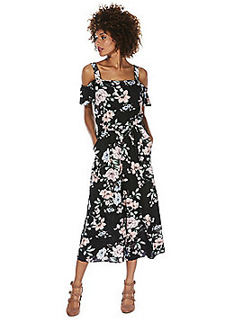 F&F Floral Print Cold Shoulder Cropped Jumpsuit - Black