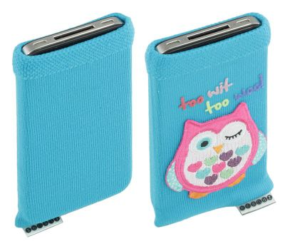 Trendz Universal Smartphone Sock - Blue with Owl Design
