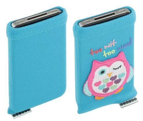 Trendz Universal Smartphone Sock - Blue with Owl Design