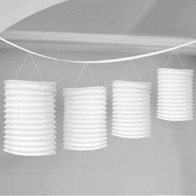 Solid Colour Decorations White Paper Lantern Garland