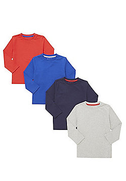 F&F 4 Pack of Long Sleeve T-Shirts - Blue
