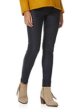 F&F Coated Mid Rise Skinny Jeans - Navy