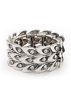 Antique Silver Vintage Crystal 'Eye' Flex Bracelet - Up to 18cm Length