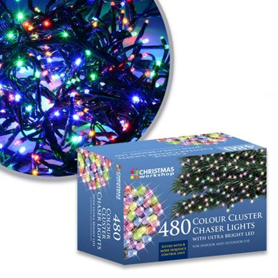 The Christmas Workshop Xmas 480 LED Chaser Cluster String Lights, Multi-Colour