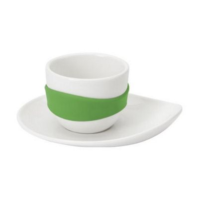 PO Set of 4 Leaf Espresso Cups and Saucers White/Green PO14817