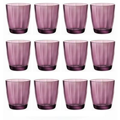 Bormioli Rocco Pulsar Faceted Double Old Fashioned Tumblers - Rock Purple - 390ml - Pack of 12