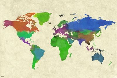 World Map Watercolor Poster 61x91.5cm