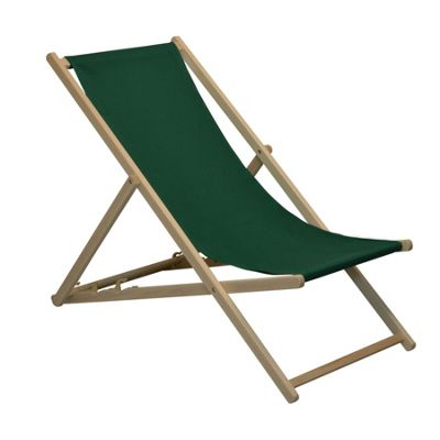 Traditional Adjustable Garden / Beach-style Deck Chair - Green